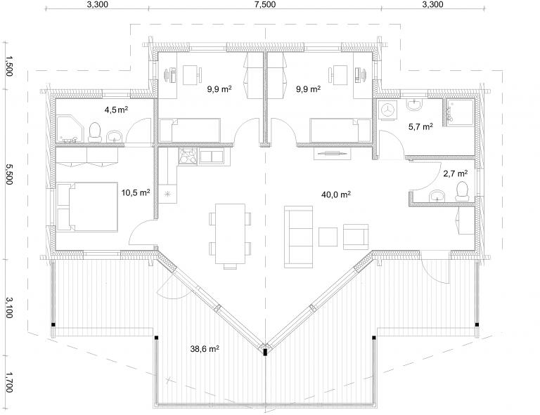 Floorplan Option 1 Mountain 139 Log House