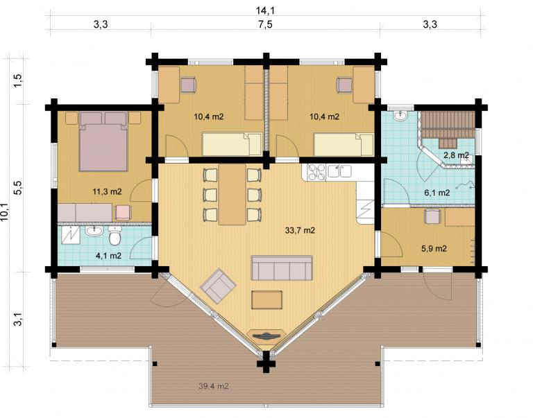 Floorplan Option 2 Mountain 139 Log House